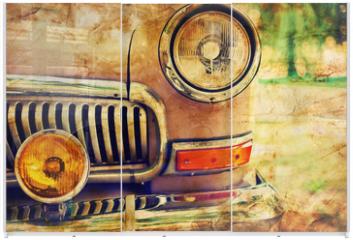 Panel szklany do szafy przesuwnej - Close-up photo of retro car headlights