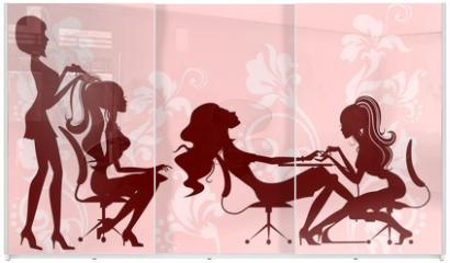 Panel szklany do szafy przesuwnej - beauty salon