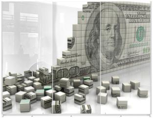 Panel szklany do szafy przesuwnej - Puzzle dollar