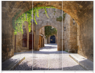 Panel szklany do szafy przesuwnej - Medieval arched street in the old town of Rhodes, Greece