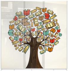 Panel szklany do szafy przesuwnej - Education concept tree with books