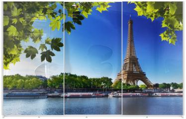 Panel szklany do szafy przesuwnej - Seine in Paris with Eiffel tower
