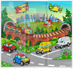 Panel szklany do szafy przesuwnej - Funny vehicles in the city. Cartoon and vector illustration.