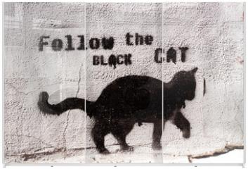 Panel szklany do szafy przesuwnej - black cat graffiti