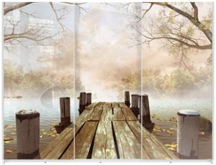 Panel szklany do szafy przesuwnej - Jesienna sceneria z drewnianym molo na jeziorze
