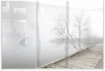 Panel szklany do szafy przesuwnej - Pier and white birch trees on foggy lake