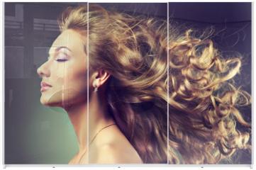 Panel szklany do szafy przesuwnej - wavy hair