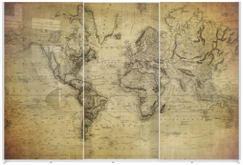 Panel szklany do szafy przesuwnej - vintage map of the world 1814..