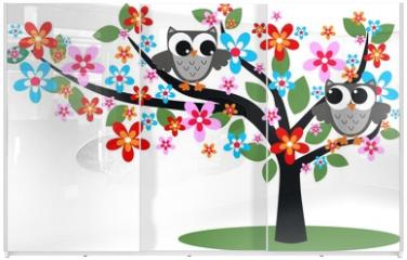 Panel szklany do szafy przesuwnej - two owls sitting in a tree