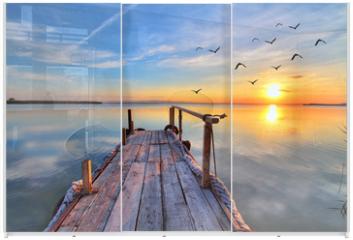 Panel szklany do szafy przesuwnej - nubes en el agua