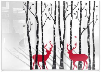 Panel szklany do szafy przesuwnej - birch trees with christmas deers, vector