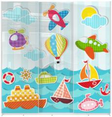 Panel szklany do szafy przesuwnej - set of sea and air transport