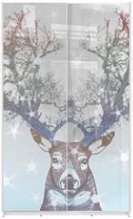 Panel szklany do szafy przesuwnej - Frozen tree horn deer