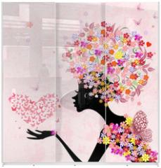 Panel szklany do szafy przesuwnej - fashion flowers girl with a heart of butterflies