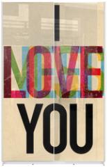 Panel szklany do szafy przesuwnej - Valentine's Day type text calligraphic