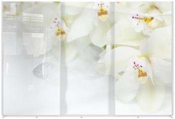 Panel szklany do szafy przesuwnej - Orchid Flowers