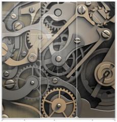 Panel szklany do szafy przesuwnej - clockwork 3d illustration