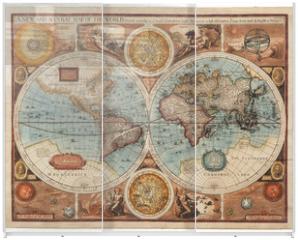 Panel szklany do szafy przesuwnej - Old map (1626)