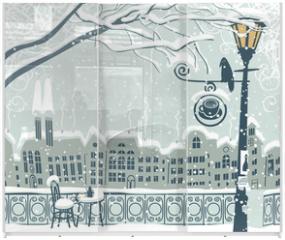 Panel szklany do szafy przesuwnej - Winter cityscape with a lantern and a bird