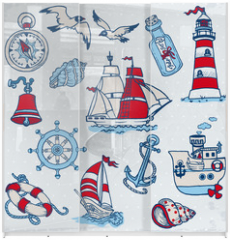 Panel szklany do szafy przesuwnej - Nautical Sea Design Elements -for scrapbook and design in vector