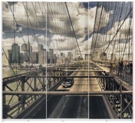 Panel szklany do szafy przesuwnej - Brooklyn Bridge view, New York City
