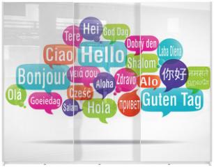 Panel szklany do szafy przesuwnej - nuage de mots bulles : bonjour traduction