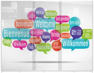 Panel szklany do szafy przesuwnej - nuage de mots bulles : bienvenue traduction