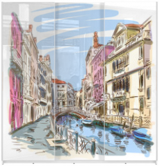 Panel szklany do szafy przesuwnej - Venice - Fondamenta Rio Marin. Vector sketch