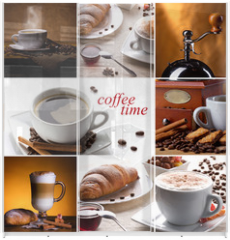 Panel szklany do szafy przesuwnej - coffee collage with different cups, coffee mill and croissant