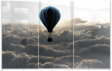 Panel szklany do szafy przesuwnej - air balloon on sky