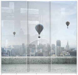 Panel szklany do szafy przesuwnej - modern city