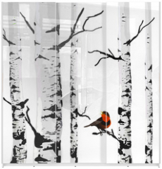 Panel szklany do szafy przesuwnej - Bird of birches, vector drawing with editable elements.