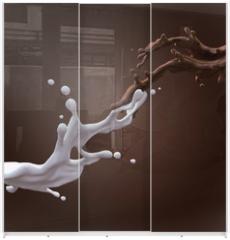 Panel szklany do szafy przesuwnej - collision of liquid chocolate and milk splash