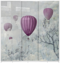 Panel szklany do szafy przesuwnej - Pink Balloons