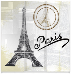 Panel szklany do szafy przesuwnej - France, Paris - hand drawn Eiffel tower