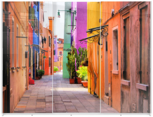 Panel szklany do szafy przesuwnej - Colorful street in Burano, near Venice, Italy