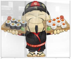 Panel szklany do szafy przesuwnej - cook of sushi