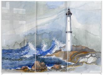 Panel szklany do szafy przesuwnej - lighthouse