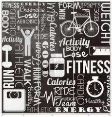 Panel szklany do szafy przesuwnej - fitness vector