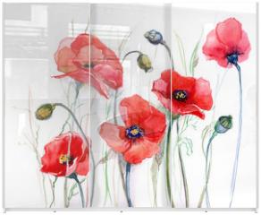 Panel szklany do szafy przesuwnej - poppy