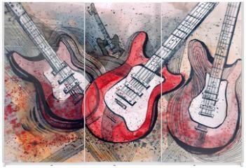 Panel szklany do szafy przesuwnej - guitar music