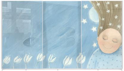 Panel szklany do szafy przesuwnej - Little girl dreaming in the garden