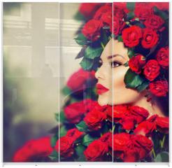 Panel szklany do szafy przesuwnej - Beauty Fashion Model Girl Portrait with Red Roses Hairstyle