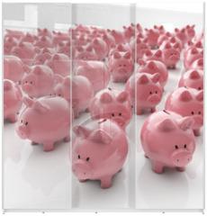 Panel szklany do szafy przesuwnej - Sparschweine Gruppe - Geld sparen / 3D Illustration