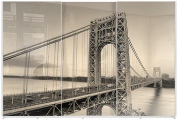 Panel szklany do szafy przesuwnej - George Washington Bridge black and white