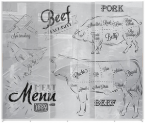 Panel szklany do szafy przesuwnej - Illustration of a vintage graphic element on the menu for meat