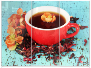 Panel szklany do szafy przesuwnej - Herbal tea in cup, on color wooden background