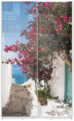 Panel szklany do szafy przesuwnej - Traditional greek alley on Sifnos island, Greece