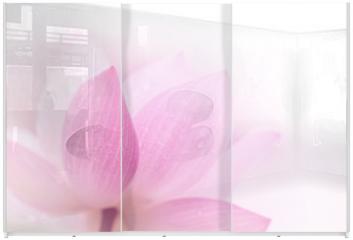 Panel szklany do szafy przesuwnej - Closeup on lotus petal