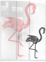 Panel szklany do szafy przesuwnej - Flamingo